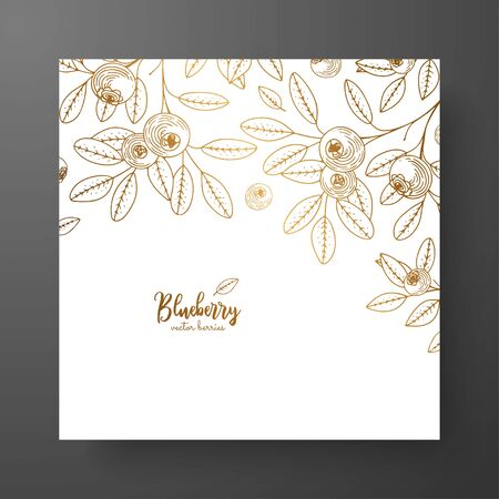 Gold card template for invitations, greeting cards, postcards, package design, or as a complement to a vintage project. Place for text, vintage botanical engraving illustration of golden blueberry.