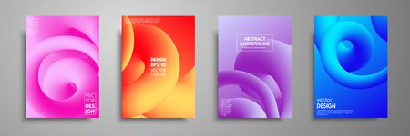 Colorful templates set with abstract elements Abstract blending liquid color shapes cover design.