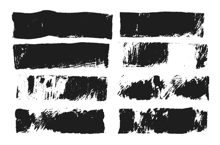Abstract black smear of paint isolated on white background. Rectangular spot created with paint roller and black acrylic. Rectangular text box. Hand drawn textured design elements