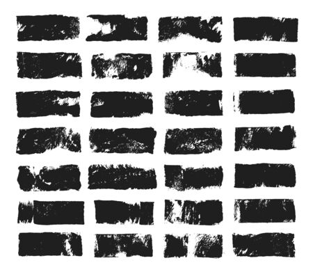 Big set of rectangular text box. Grunge paint stripe. Vector brush stroke. Black grunge spots with place for your text. Spots created with paint roller and black acrylic. Elements for design  イラスト・ベクター素材