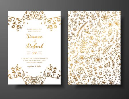 Golden vector wedding invitation with hand drawn twigs, flowers and brahches. Golden botanical template for wedding invite, save the date card, greeting card, place for your text, printable.