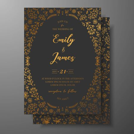 Golden vector wedding invitation with hand drawn twigs, flowers and brahches. Dark elegant botanical template for wedding invite, save the date card, greeting card, place for your text, printable. Ilustrace