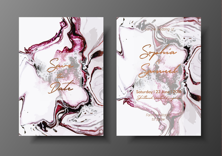 Wedding template with liquid marble texture for wedding invite, save the date card, greeting card, place for your text, printable.