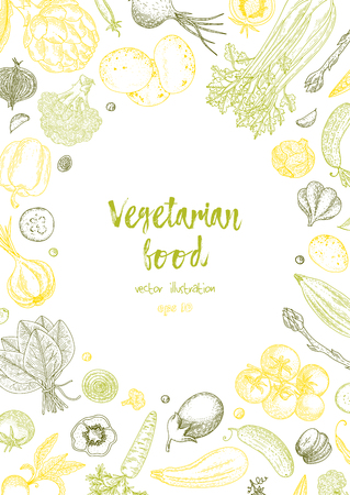 Vegetable hand drawn vintage vector illustration. Farm market poster. Healthy life. Vector composition of fresh vegetables. Detailed food drawing. Great for menu, banner, flyer. Vettoriali