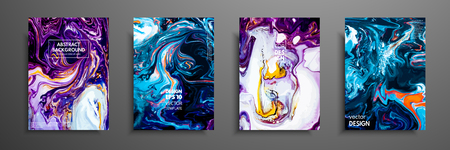 Mixture of acrylic paints. Liquid marble texture. Fluid art. Applicable for design cover, presentation, invitation, flyer, annual report, poster and business card, desing packaging. Modern artwork Stock Illustratie