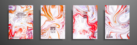 Creative trendy cards. Abstract painting templates with place for your text. Fluid art. Applicable for design covers, presentation, invitation, flyers, annual reports, posters and business cards Vettoriali