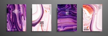 Mieszanka farb akrylowych. Nowoczesna grafika. Modny design. Malowanie z efektem marmuru. Graficzny, ręcznie rysowany projekt okładek, prezentacji, zaproszenia, ulotki, raportu rocznego, plakatu i wizytówki Ilustracje wektorowe