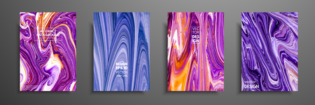 Set of universal vector cards. Liquid marble texture. Colorful design for invitation, placard, brochure, poster, banner, flyer. Artistic covers design. Creative fluid colors backgrounds. Stock Illustratie