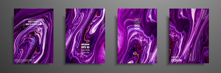 Flyer layout template with mixture of acrylic paints. Liquid marble texture. Fluid art. Applicable for design cover, flyer, poster, placard. Mixed blue, purple and orange paints.