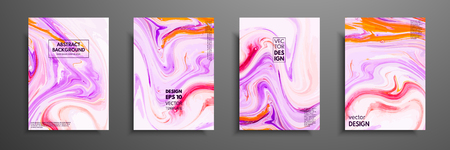 Flyer layout template with mixture of acrylic paints. Liquid marble texture. Fluid art. Applicable for design cover, flyer, poster, placard. Mixed pink, purple and white paints.