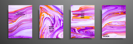 Flyer layout template with mixture of acrylic paints. Liquid marble texture. Fluid art. Applicable for design cover, flyer, poster, placard. Mixed orange, purple and pink paints.