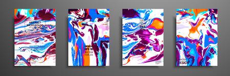 Copertine con texture liquide acriliche. Colorata composizione astratta. Opere d'arte moderna. Illustrazioni vettoriali con colori misti blu, verde e bianco. Applicabile per cartelli di design, volantini, poster.