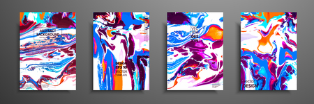 Covers with acrylic liquid textures. Colorful abstract composition. Modern artwork. Vector illustrations with mixed blue, green and white color. Applicable for design placard, flyer, poster.