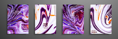 Set of universal vector cards. Liquid marble texture. Colorful design for invitation, placard, brochure, poster, banner, flyer. Artistic covers design. Creative fluid colors backgrounds