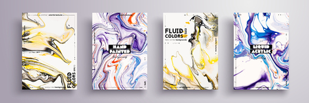 Abstract painting, can be used as a trendy background for wallpaper, poster, invitation, cover and presentation. Fluid art. Liquid marble texture with mixed of acrylic yellow, blue, black paints.