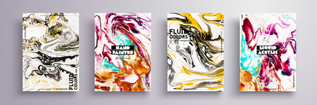 Abstract painting, can be used as a trendy background for wallpaper, poster, invitation, cover and presentation. Fluid art. Liquid marble texture with mixed of acrylic yellow, black, purple paints. Illustration