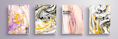 Abstract painting, can be used as a trendy background for wallpaper, poster, invitation, cover and presentation. Fluid art. Liquid marble texture with mixed of acrylic yellow, pink, black paints. Ilustrace