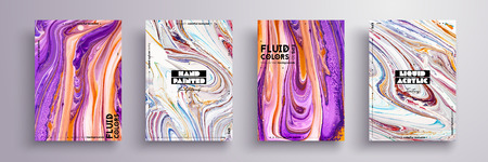 Abstract painting, can be used as a trendy background for wallpaper, poster, invitation, cover and presentation. Fluid art. Liquid marble texture with mixed of acrylic yellow, blue, purple paints. Ilustrace