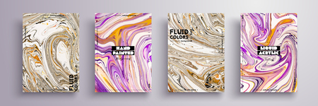 Abstract painting, can be used as a trendy background for wallpaper, poster, invitation, cover and presentation. Fluid art. Liquid marble texture with mixed of acrylic yellow, pink, black paints. Иллюстрация