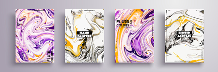 Abstract painting, can be used as a trendy background for wallpaper, poster, invitation, cover and presentation. Fluid art. Liquid marble texture with mixed of acrylic yellow, black, purple paints
