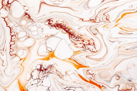 Abstract orange marble, granite fluid texture. Natural stone, resin art modern artwork wallpaper. Luxurious mineral pattern minimalist background. Liquid oil, paint mix backdrop.