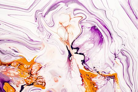 Purple and orange vibrant abstract marbled texture. Luxurious granite, natural stone wave pattern. Colorful paint mix wallpaper. Decorative messy marbelized backdrop, background Stock Photo