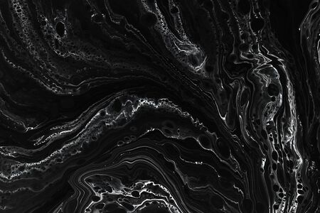 Abstract black marble texture background. Oil, acrylic paint mix pattern. Black and white minimalist wallpaper. Luxury stone material tile. Natural mineral, granite modern design