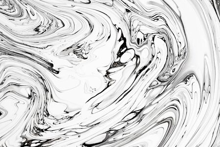 Abstract ink fluid marbled texture. Luxurious granite, marble mineral pattern wallpaper. Black and white minimalist liquid, fluid art backdrop. Oil, paint mix resin artwork