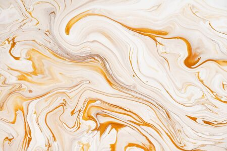 Marble golden and white raster texture. Mineral stone macro surface. Color liquid flow, fluid effect wallpaper. Acrylic, oil paints mixing dynamic backdrop. Granite, resin art modern design background
