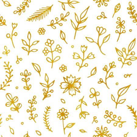 Volksblumen Vintage nahtlose Rastermuster. Ethnisches Blumenmotiv weißer handgezeichneter Hintergrund. Kontur goldener Blütenstand, Blüte. Blühen, Pflanzenblätter. Ditsy Textil, Tapetendesign Standard-Bild