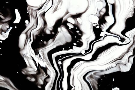 Black and white alcohol ink marbling raster background. Liquid waves and drops minimal illustration. Abstract fluid art. Acrylic and oil paint flow monochrome contemporary backdrop Zdjęcie Seryjne