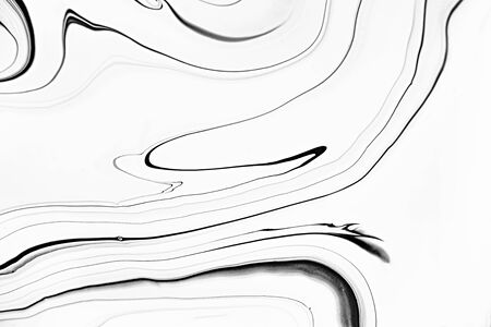 Monocolor marbling raster background. Leaking liquid, alcohol ink minimalistic surface illustration. Black and white abstract fluid art. Paint flow monochrome contemporary simple backdrop. Zdjęcie Seryjne