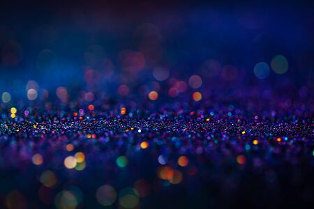 Shiny multicolor glitter raster background. Abstract shimmering pink, blue, yellow circles decorative backdrop. Bokeh lights effect illustration. Overlapping glowing and twinkling spots Stockfoto - 137877889