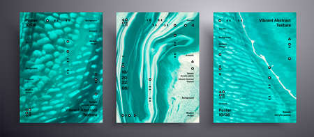 Abstract vector placard, collection of modern fluid art covers. Beautiful background that can be used for design cover, invitation, presentation and etc. Blue, cyan and white iridescent artwork 矢量图像