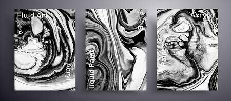 Abstract liquid placard, fluid art vector texture pack. Beautiful background that can be used for design cover, invitation, presentation and etc. White, black and grey creative surface template
