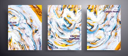Abstract vector banner, texture pack of fluid art covers. Beautiful background that can be used for design cover, poster, brochure and etc. Blue, golden and white unusual creative surface template