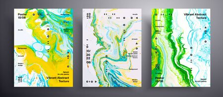 Abstract vector banner, collection of modern fluid art covers. Artistic background that applicable for design cover, poster, brochure and etc. Green, yellow and white creative iridescent artwork