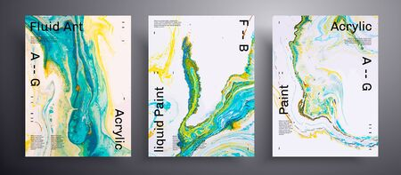 Abstract vector poster, texture pack of fluid art covers. Artistic background that can be used for design cover, poster, brochure and etc. Blue, yellow, green and white creative surface template 일러스트