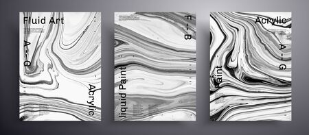 Abstract liquid banner, fluid art vector texture set. Trendy background that applicable for design cover, invitation, presentation and etc. Grey, black and white unusual creative surface template
