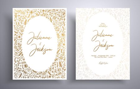 Golden wedding invitation with hand drawn twigs, flowers and brahches. Botanical cards templates. Beautiful cards that can be used for design cover, invitation, greeting cards, brochure and etc Foto de archivo