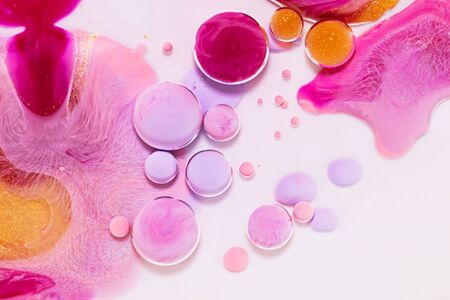 Fluid art texture. Backdrop with abstract iridescent paint effect. Liquid acrylic picture with trendy mixed paints. Can be used for website background. Pink, white and lilac overflowing colors Imagens