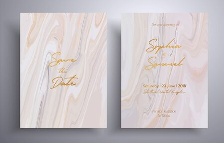 Vector wedding invitation with with swirling paint effect. Pink, beige and white overflowing colors. Beautiful cards that can be used for design cover, invitation, greeting cards, brochure and etc