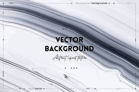 Fluid art texture. Backdrop with abstract mixing paint effect. Liquid acrylic picture with flows and splashes. Mixed paints for background or poster. Black and white overflowing colors Vector Illustration
