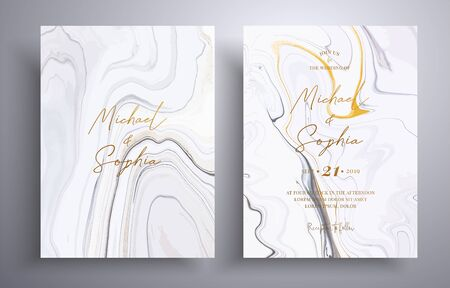 Vector wedding invitation with marble pattern. Golden, black and white overflowing colors. Beautiful cards that can be used for design cover, invitation, greeting cards, brochure and etc