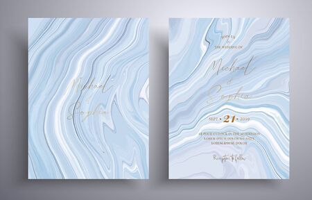 Vector wedding invitation with marble pattern. Gray, blue and white overflowing colors. Beautiful cards that can be used for design cover, invitation, greeting cards, brochure and etc