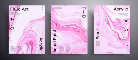 Abstract vector poster, texture collection of fluid art covers. Trendy background that applicable for design cover, invitation, presentation and etc. Pink and white universal trendy painting backdrop Иллюстрация