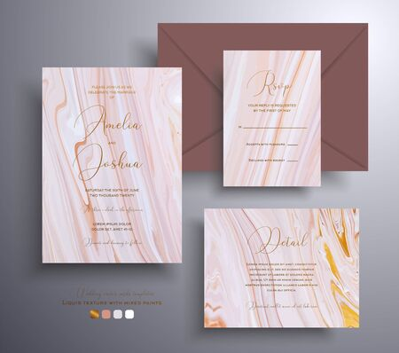 Beautiful set of wedding invitations with stone texture. Agate vector covers with marble effect and place for text, golden, brown and beige colors. Designed for greeting cards, packaging and etc Ilustração