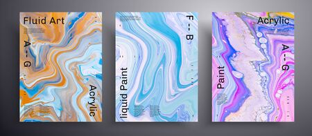 Abstract vector placard, texture pack of fluid art covers. Artistic background that applicable for design cover, poster, brochure and etc. Blue, pink and orange unusual creative surface template