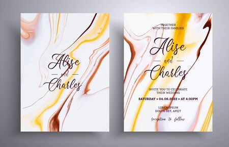 Beautiful collection of wedding invitations with stone pattern. Mineral vector covers with marble effect and place for text, brown, yellow and white colors. Designed for posters, brochures and etc