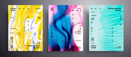 Abstract vector placard, texture set of fluid art covers. Artistic background that applicable for design cover, invitation, flyer and etc. Pink, blue and yellow unusual creative surface template Ilustração